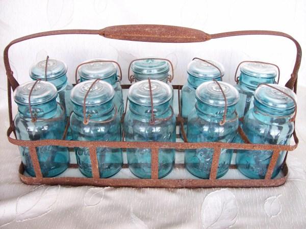 Antique Blue Mason Jar Set With Holder