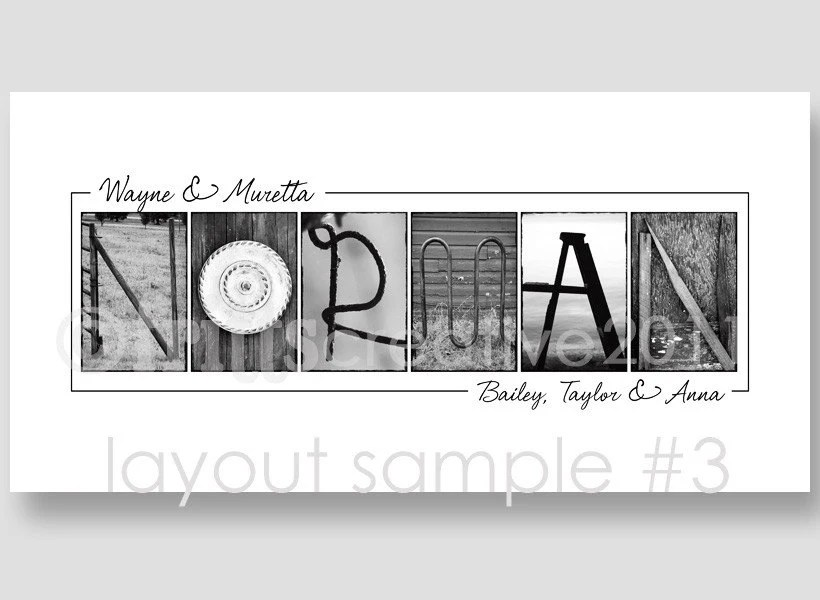 Personalized Family Last Name Frame Collage