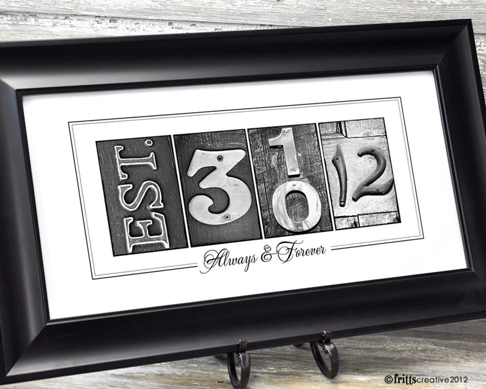 Personalized Date Number Photo Art 10x20 Print By