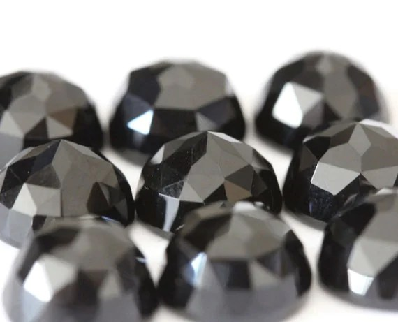 6mm Fancy Rose Cut Black Onyx 1 Cab by FindYourStone on Etsy