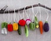 Christmas Tree Felted Vegetable Ornaments- Gift Set of 11 - MyLittleKawaii