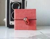 """Mini pocket photo album """"Vintage Orange"""" - with vintage button - OOAK - Satyrika"""