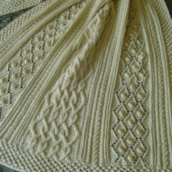 Wheelchair Blanket Doggy High Chair Aran Knit Afghan Handknit Bobbles And Diamonds