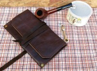 Leather Pipe & Tobacco Pouch Rustic Roll Up Bag