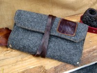Grey Flannel & Leather Pipe and Tobacco Pouch Roll Up Bag