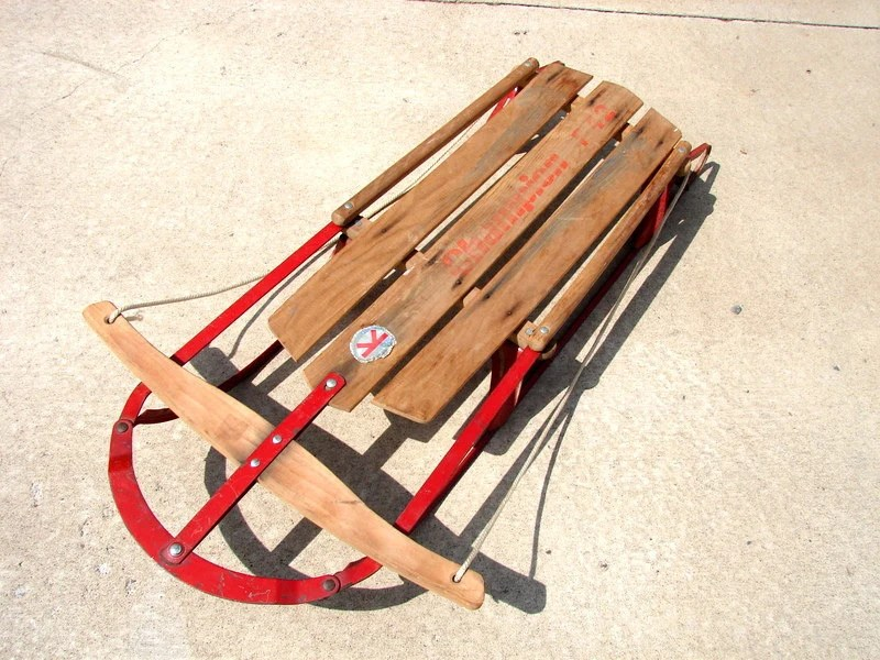 Vintage Paris Champion F42 Metal and Wood Snow Sled Cabin or