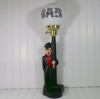 Charlie Chaplin Bar LampPost Vintage ChalkWare Figurine
