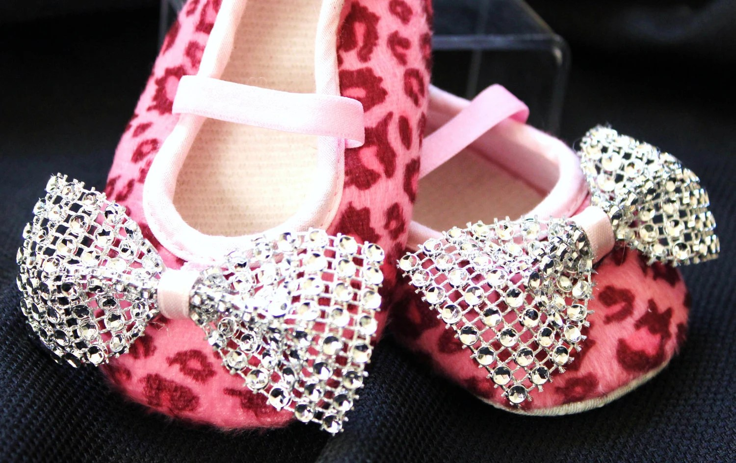 Pink Leopard Booties with Diamond Bows