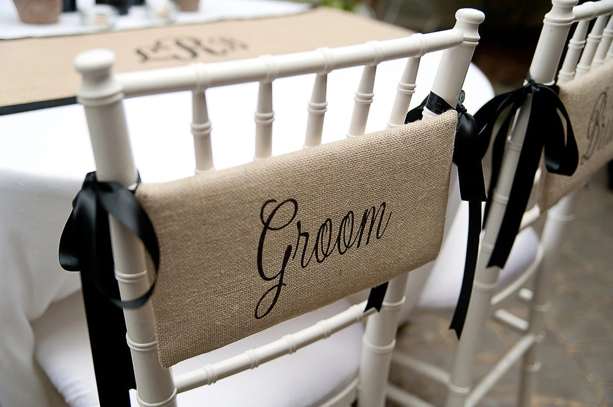 Burlap Chairs Bride And Groom Burlap Chair Signs For Farmhouse By