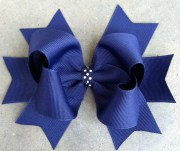 navy blue hair bow large 5 boutique