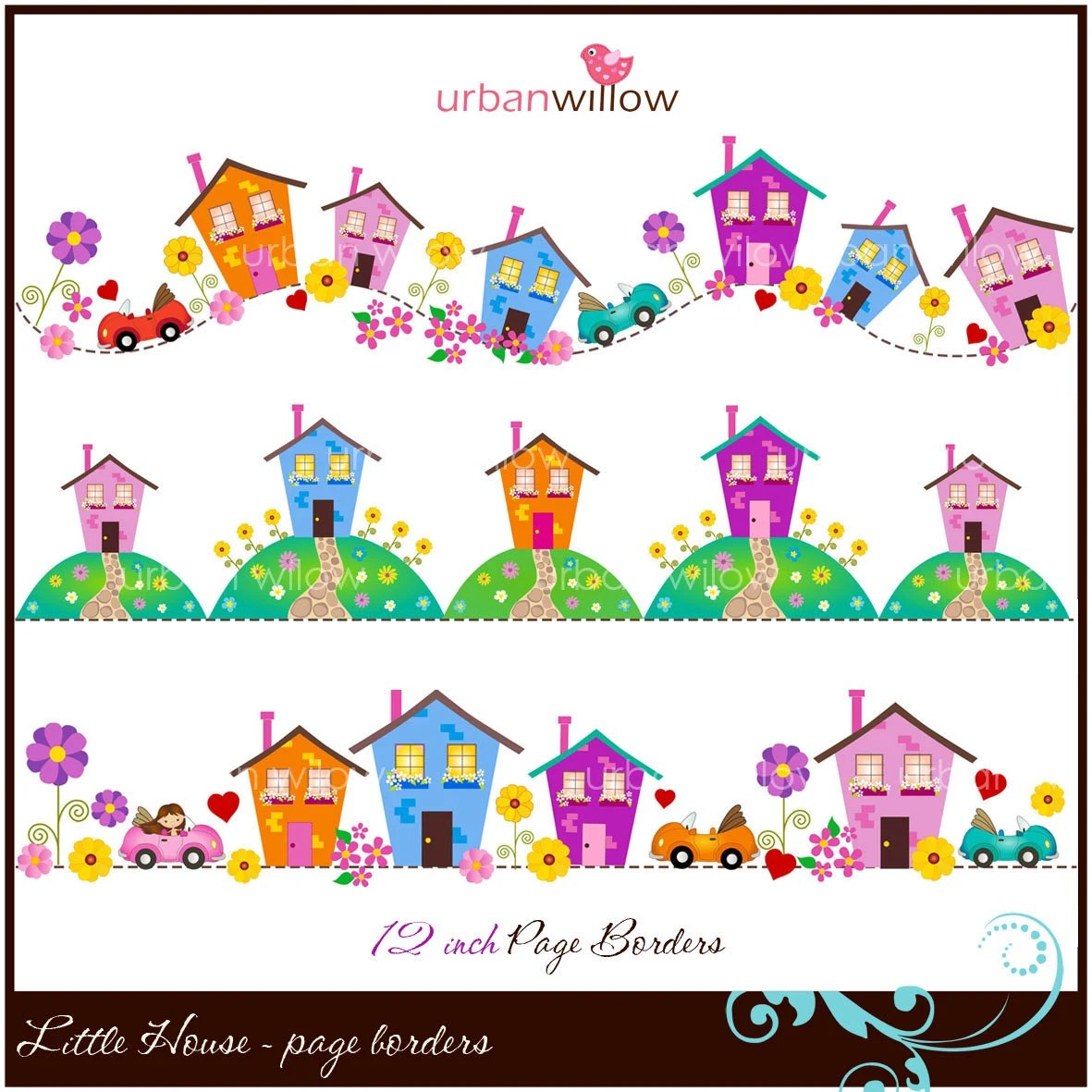 LITTLE HOUSE Clip Art Page Borders Jpeg & Png Files