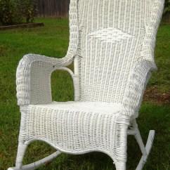 Wicker Rocking Chair Ikea Cushions Vintage White