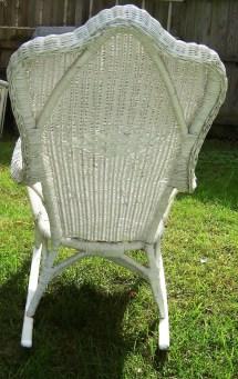 Vintage White Wicker Rocking Chair