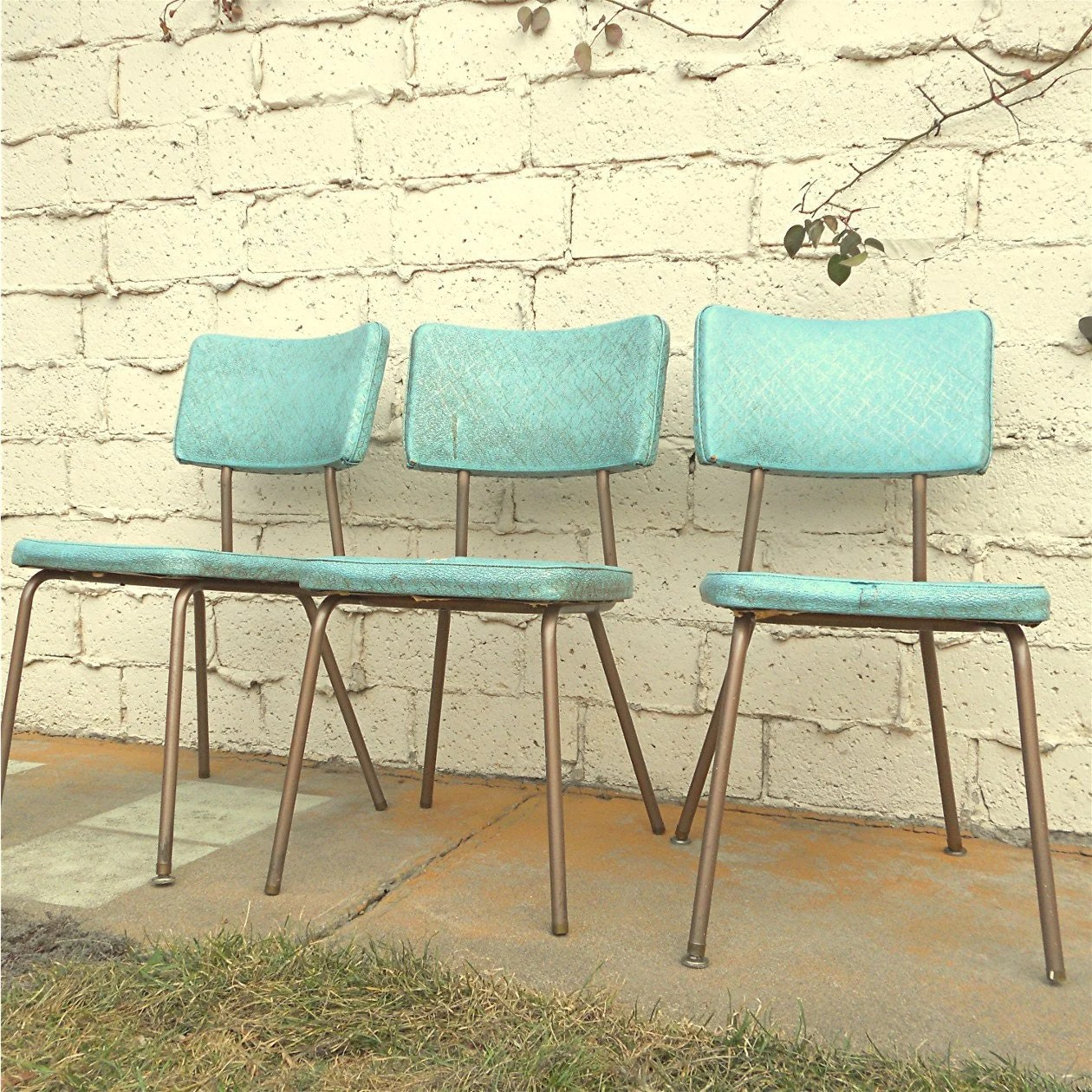 Retro Kitchen Chairs Vintage Kitchen Chairs Three Vinyl Turquoise Chairs Local