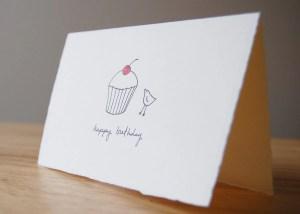 birthday card simple cupcake