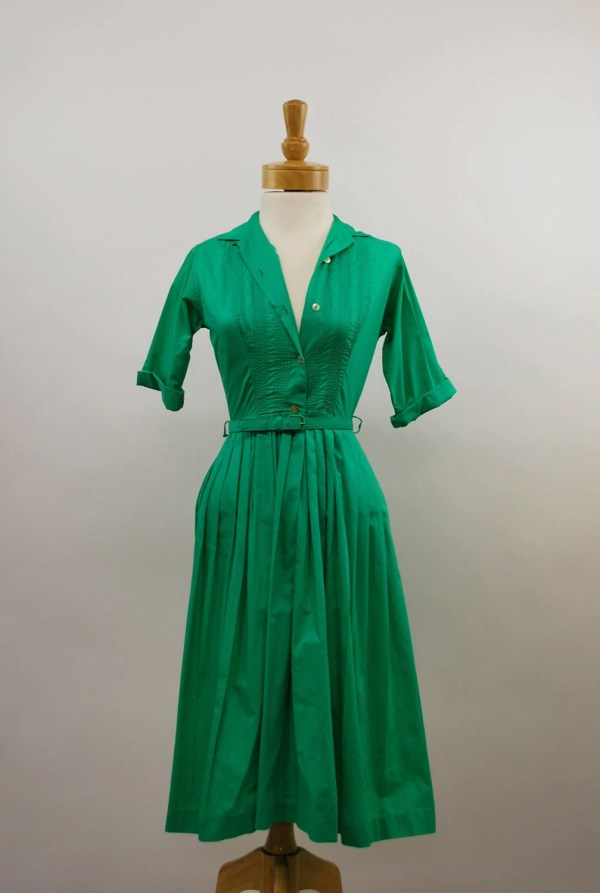 Kelly Green 1950s Shirt Dress