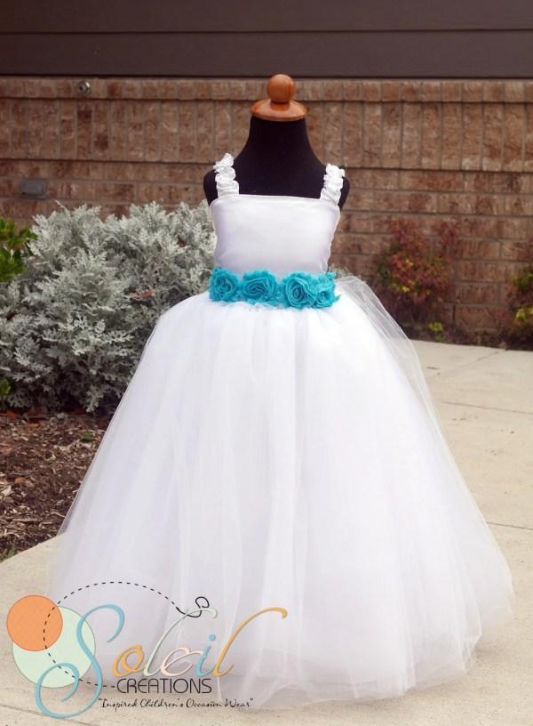 White Flower Girl Dress Vintage Teal Turquoise Scbydesign