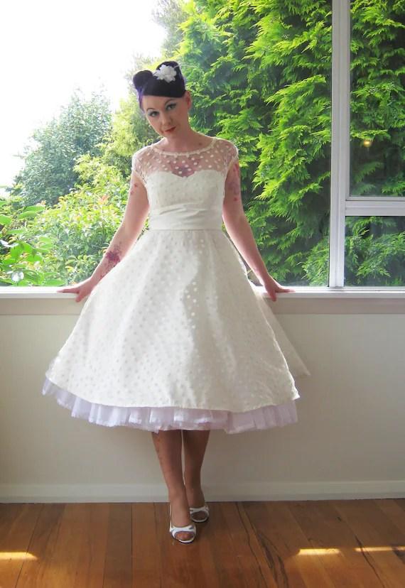 1950s Style Black or White Wedding Dress with Polka Dot
