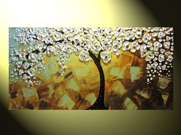 Original Abstract Tree Painting Textured Of Life Modern
