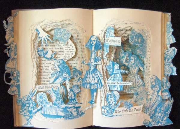 Alice In Wonderland Of Kind Book Sculpture Altered