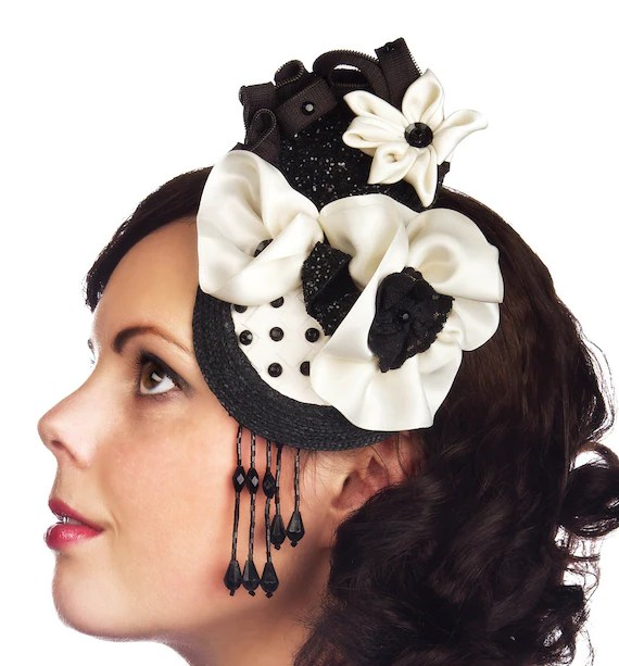 Black and white cocktail hat