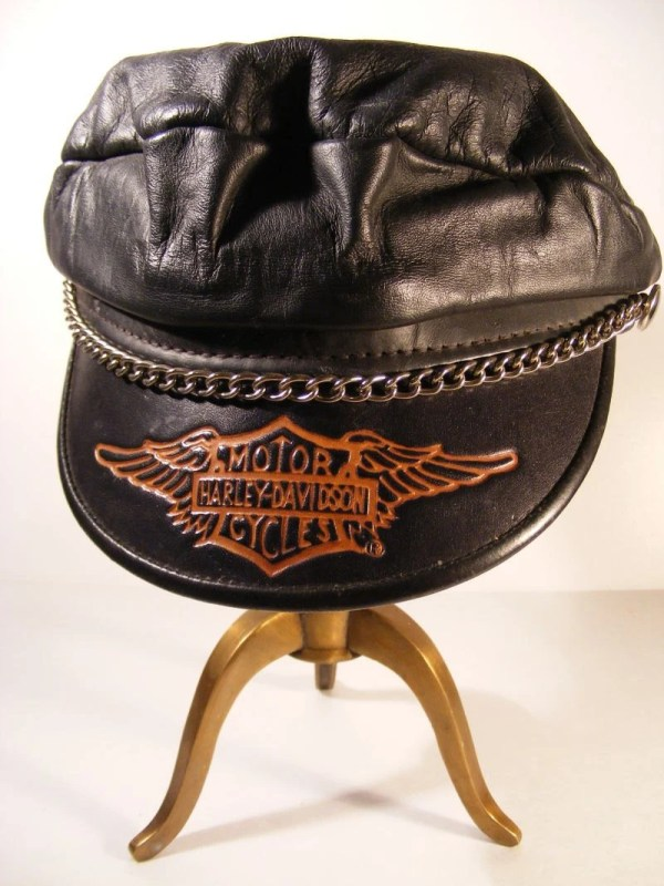 Harley Davidson Biker Hat Cap Leather Vintage Chain Detail