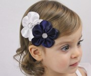 white and navy flowers hair bow