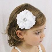 white wedding flower hair bow fancy
