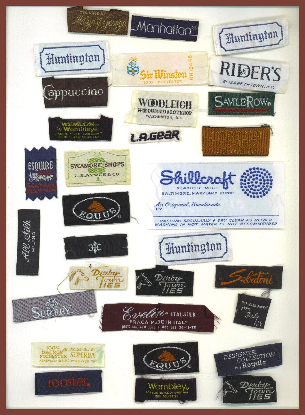 Vintage Designer Clothing Labels Embroidered 1980s and Earlier