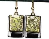 Dangling Earrings Dichroic Glass Gold Black Etched Bubbles - coastalartglass