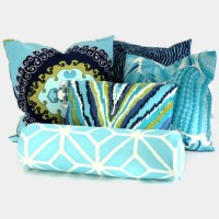 Trina Turk Aqua Trellis Outdoor Bolster Pillow Cover