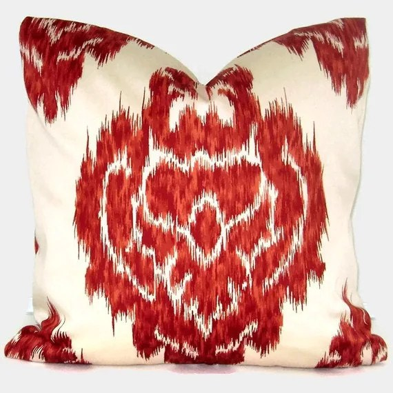 Duralee Red Ikat Decorative Pillow Cover 18x18 20x20 22x22