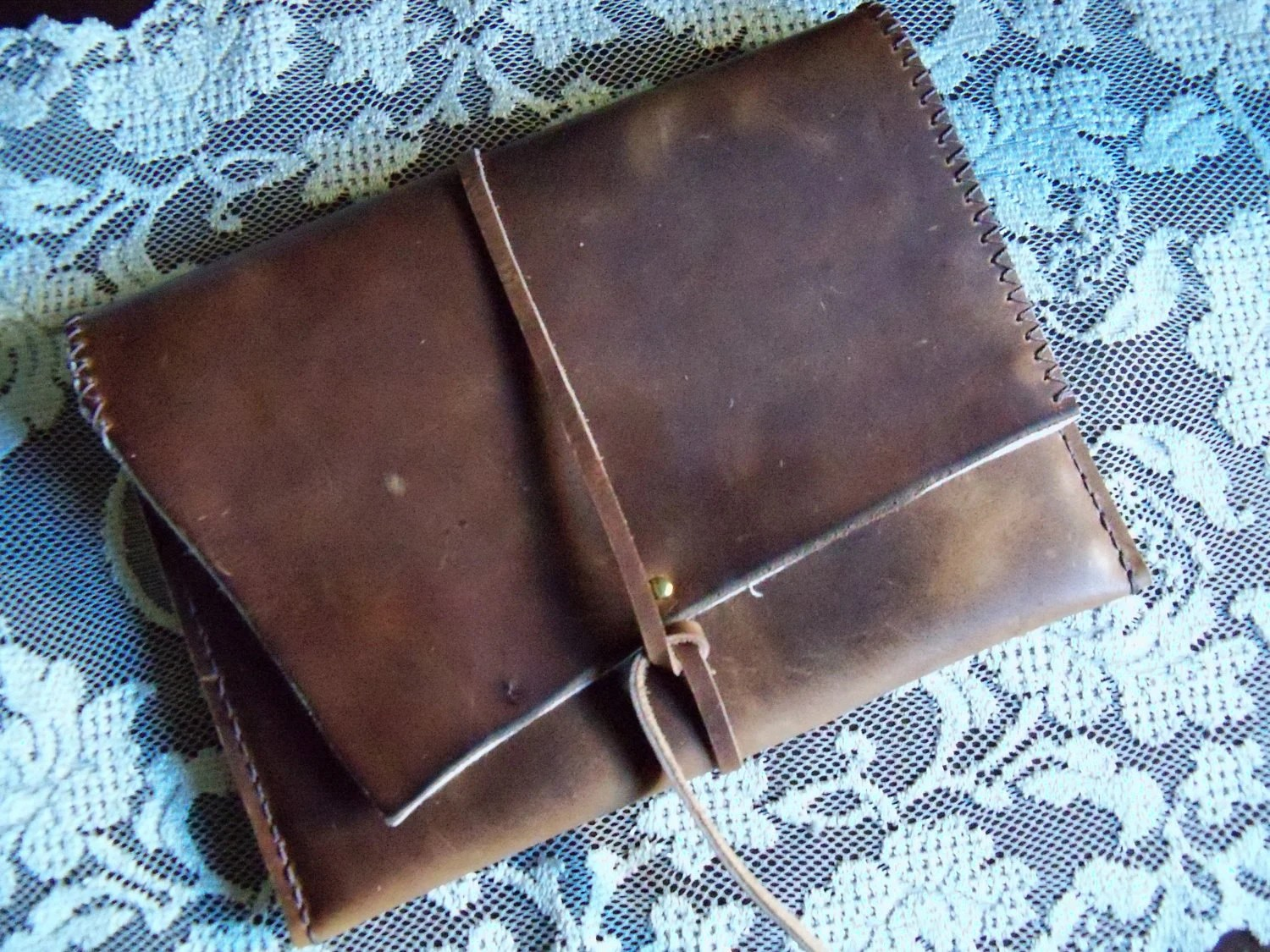 Hand Made Distressed Leather iPad iPad 2 or the Newest iPad (3) Case - Can Be Customized to Fit Any Tablet Case