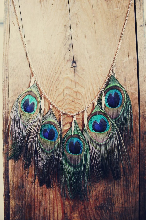 Peacock Feather Necklace With Metal Charms Hippie