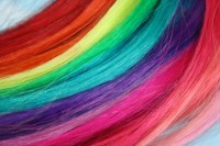 Rainbow Human Hair Extensions SET OF 4 Colored Hair