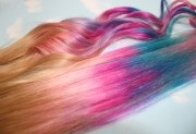 pastel tie dye tips human hair