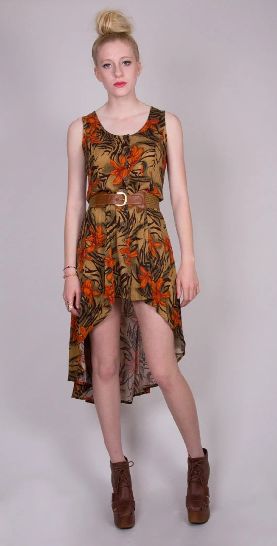 LPM Redesigned Vintage Floral Fishtail Dress Size Medium