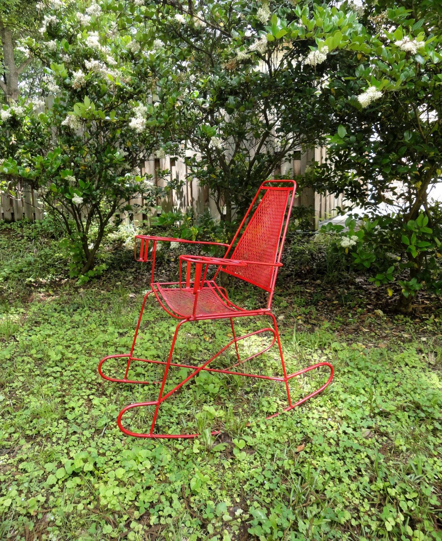 retro metal yard chairs senior citizen chair vintage outdoor rocking