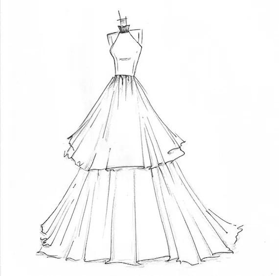 high-fashion dress sketch