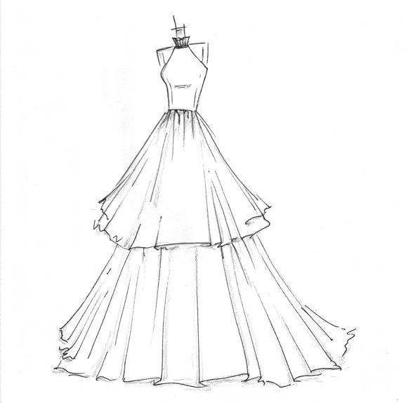 high-fashion dress sketch by dresssketch on Etsy