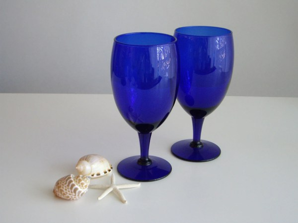 Cobalt Blue Water Red Wine Glasses Set Of 2 Stemmed