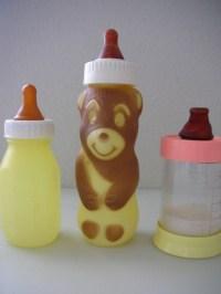Vintage Baby Bottles Plastic Set of 3 Bear and Evenflo