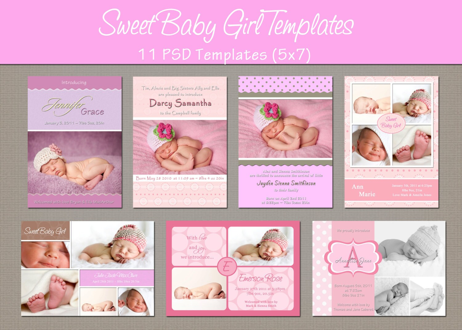 Baby Girl Birth Announcement Template Template Haven .