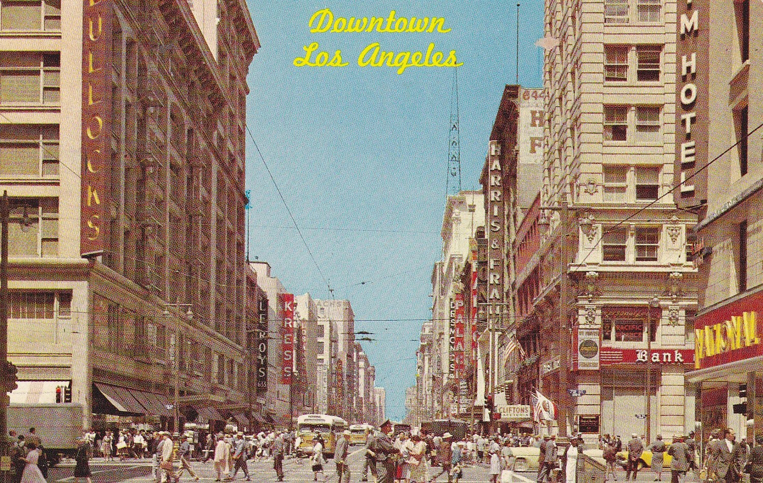 Downtown Los Angeles Vintage Postcard Unused