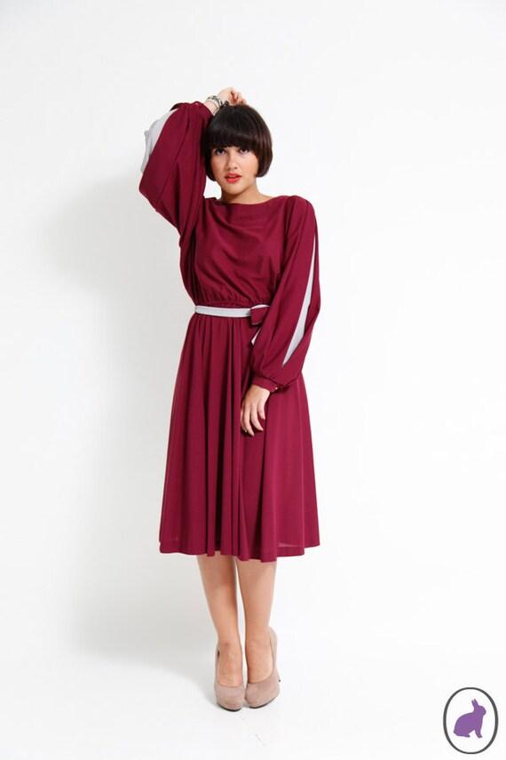 Vintage 80s Full skirt Secretary Dress Balloon sleeve Plum