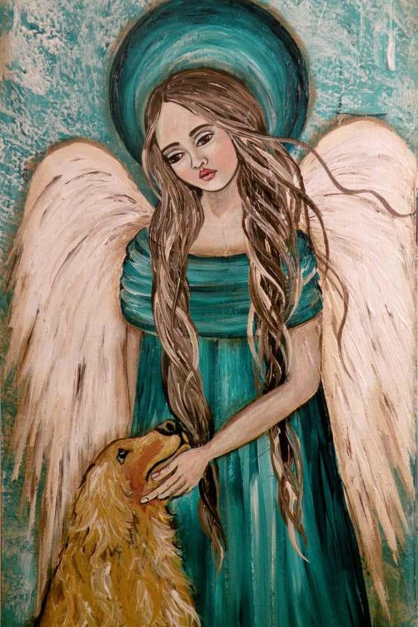 Folk Art Angel With Dog Meet Thee