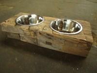 Wood Dog Dish Holder reclaimed oak barn beam 2 by ...