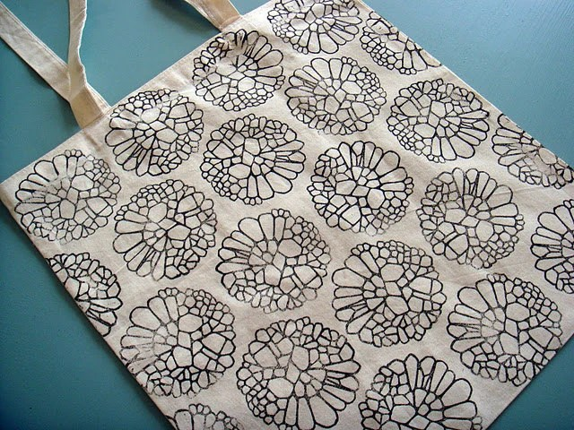 Reusable Canvas Tote Bag - linocut print, black cellular pattern - saidinlayers