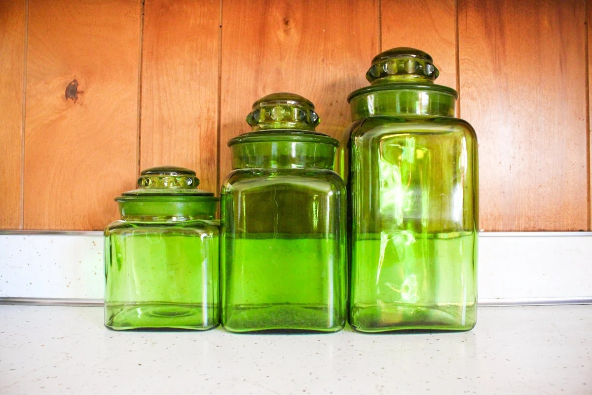 Green Glass Kitchen Canister Set  Vintage  Three