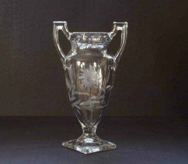 Crystal vase vintage glass urn etched glass
